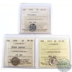 5-cent 1904 AU-50 (polished), 1909 Round Leaves VF-30 & 1913 AU-58 ICCS Certified. 3pcs