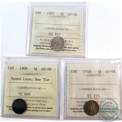 5-cent 1905 AU-58, 1909 Round Leaves; Bow Tie AU-50 & 1916 AU-58 ICCS Certified. 3pcs