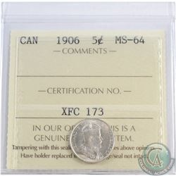 5-cent 1906 ICCS Certified MS-64