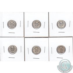 5-cent 1911 EF, 1912 EF-AU, 1917 AU-UNC, 1918 AU-UNC, 1919 AU-UNC & 1920 AU-UNC. Some coins have min
