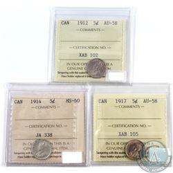 5-cent 1912 AU-58, 1914 MS-60 & 1917 AU-58 ICCS Certified. 3pcs