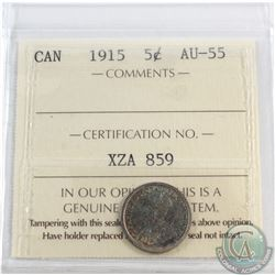 5-cent 1915 ICCS Certified AU-55. Nice blue/green toning throughout coin.