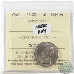 5-cent 1922 Near Rim ICCS Certified MS-64
