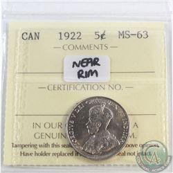 5-cent 1922 Near Rim ICCS Certified MS-63