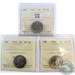 5-cent 1922 Near Rim, 1923 & 1924 ICCS Certified AU-50. 3pcs