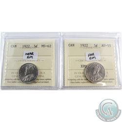 5-cent 1922 Far Rim AU-55 & 1922 Near Rim MS-62 ICCS Certified. 2pcs