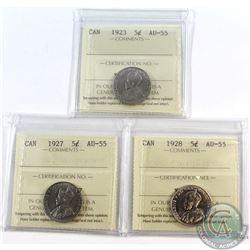 5-cent 1923, 1927 & 1928 ICCS Certified AU-55. 3pcs