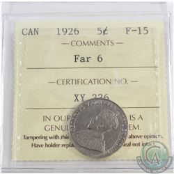 5-cent 1926 Far 6 ICCS Certified F-15