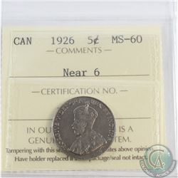 5-cent 1926 Near 6 ICCS Certified MS-60