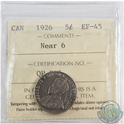 5-cent 1926 Near 6 ICCS Certified EF-45