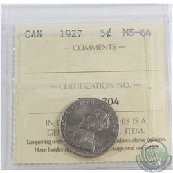 5-cent 1927 ICCS Certified MS-64