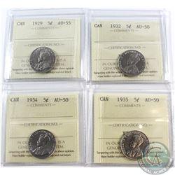 5-cent 1929 AU-55, 1932 AU-50, 1934 AU-50 & 1935 AU-50 ICCS Certified. 4pcs