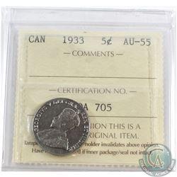 5-cent 1933 ICCS Certified AU-55