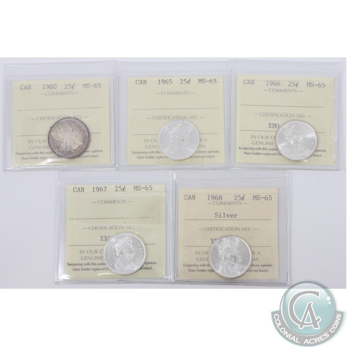 25-cent 1960, 1965, 1966, 1967 & 1968 Silver ICCS Certified MS-65  5pcs