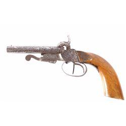 Unique European Double Barrel 9mm Pinfire Pistol