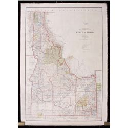 State of Idaho Hand-Tinted 1898 Map