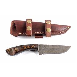 CFK Damascus Ram's Horn Knife & Scabbard
