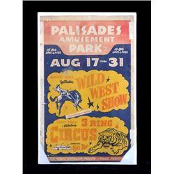 Original Palisades Amusement Park Poster 1940's