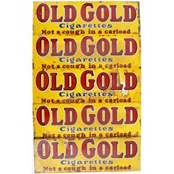 Five NOS Double Sided Old Gold Cigarette Ad Signs