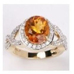 STERLING SILVER MADEIRA CITRINE AND WHITE TOPAZ RING