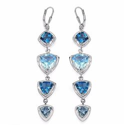 STERLING SILVER BLUE TOPAZ DROP EARRINGS