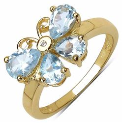 STERLING SILVER AQUAMARINE BUTTERFLY RING