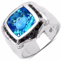STERLING SILVER SWISS BLUE TOPAZ AND BLACK SPINEL RING