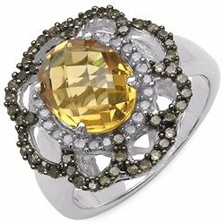 STERLING SILVER CITRINE AND COLOR DIAMOND RING