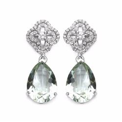 STERLING SILVER GREEN AMETHYST EARRING