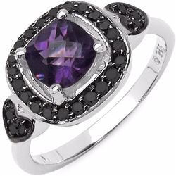 STERLING SILVER AFRICAN AMETHYST CHECKER BOARD AND BLACK DIAMOND RING