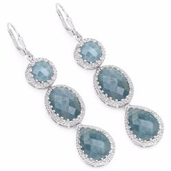 STERLING SILVER AQUAMARINE DROP EARRING