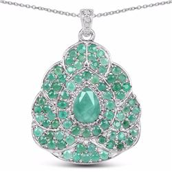 STERLING SILVER BRAZILIAN SAKOTA EMERALD AND DIAMOND PENDANT