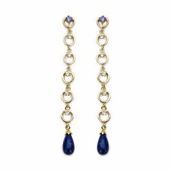 STERLING SILVER CABOCHON LAPIS AND TANZANITE DROP EARRING