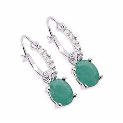 STERLING SILVER SAKOTA EMERALD EARRING