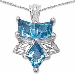 STERLING SILVER FANCY SHAPE BLUE TOPAZ PENDANT