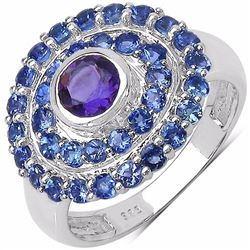 STERLING SILVER AFRICAN AMETHYST AND TANZANITE RING