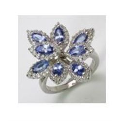 STERLING SILVER TANZANITE FLOWER RING