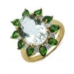 STERLING SILVER GREEN AMETHYST AND CHROME DIOPSIDE RING