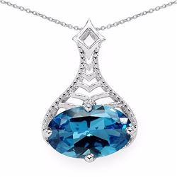 STERLING SILVER LONDON BLUE TOPAZ PENDANT