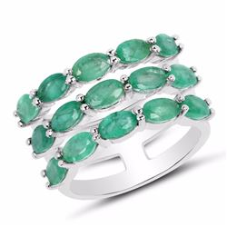 STERLING SILVER ZAMBIAN EMERALD TRIPLE ROW RING