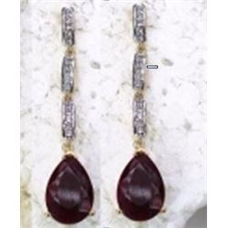 STERLING SILVER RUBY DROP EARRINGS