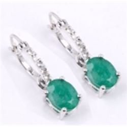 STERLING SILVER EMERALD EARRING