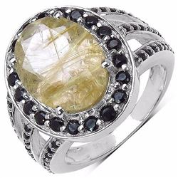 STERLING SILVER GOLDEN RUTILE AND BLACK SPINEL RING