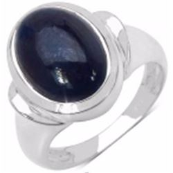 STERLING SILVER BLUE CABOCHON RING