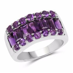 STERLING SILVER AMETHYST BAGUETTE RING