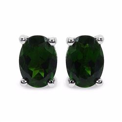 STERLING SILVER CHROME DIOPSIDE EARRING