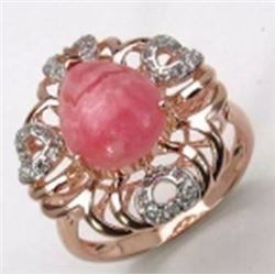 STERLING SILVER RHODOCROSIDE CABOCHON RING