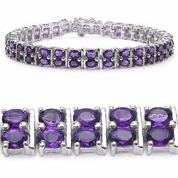 STERLING SILVER AFRICAN AMETHYST DOUBLE ROW BRACELET
