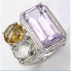 STERLING SILVER PINK AMETHYST, GREEN AMETHYST AND GOLDEN CITRINE RING