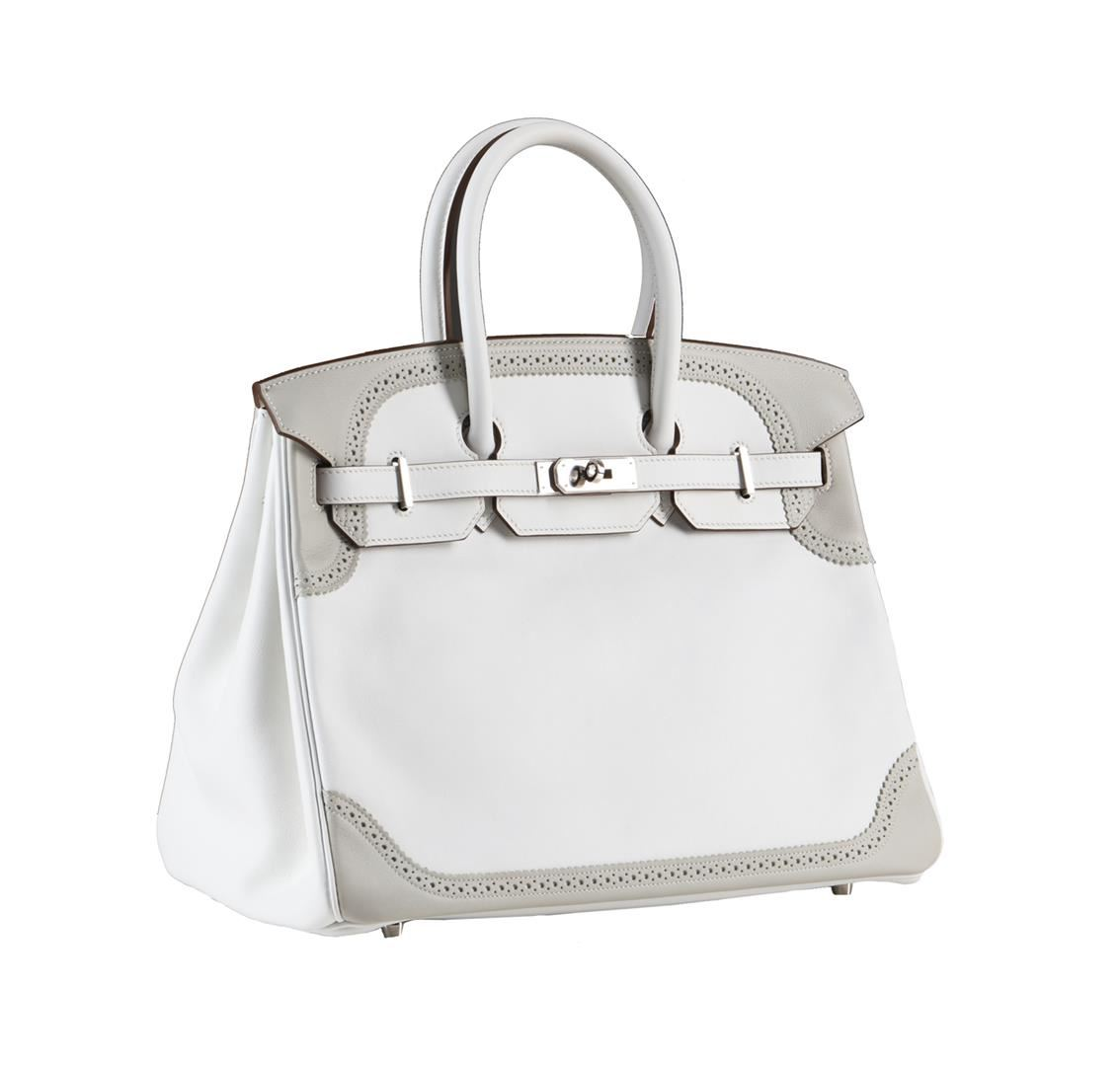 59734ba70c0 Image 1   Hermes 35cm White and Gris Perle Swift Leather Ghillies Birkin  Bag ...